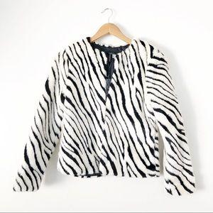 H&M Faux Fur Zebra Jacket Bloggers Fav